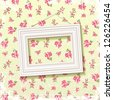 Picture frame on delicate floral background - stock photo