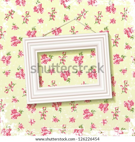 Picture frame on delicate floral background - stock vector