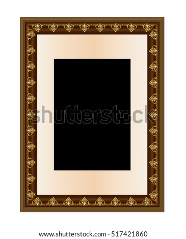 Picture Frame Vector Antique Vintage Wooden Stock Vector 517421860