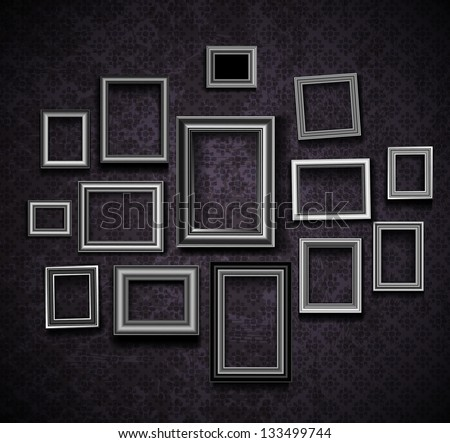 Picture frame vector. Vintage photo frames on old wall - stock vector