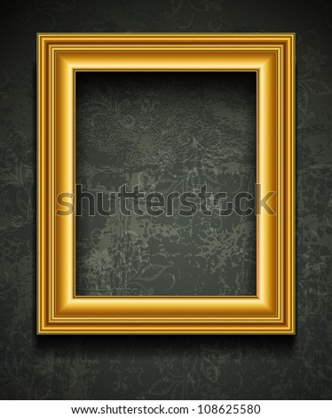 Picture Frame Wallpaper Background. Photo Frame on Grunge Wall - stock vector