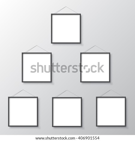 picture frames hang on wall - stock vector