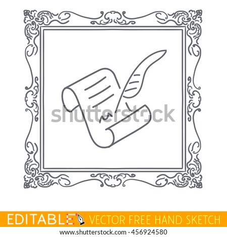 Picture in frame parchment and pen. Editable vector icon in linear style. - stock vector