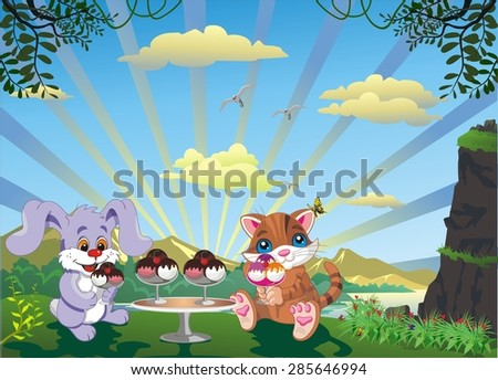 picture - kitten and rabbit with ice cream outdoors - stock vector