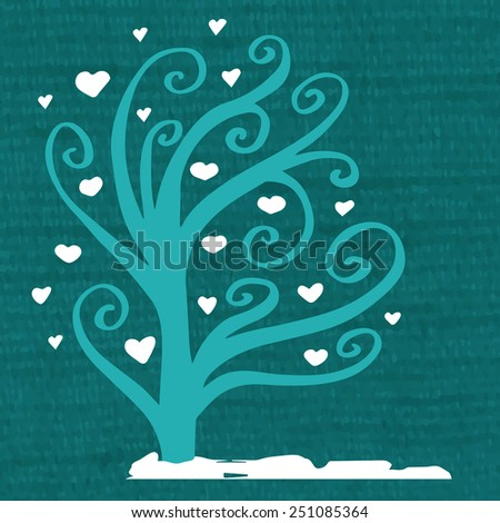 Picture of a blue tree with small white hearts on a dark background. Vector illustration for design