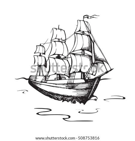 Picture Boat Ship Sea Template Design Stock Vector 508753816 ...