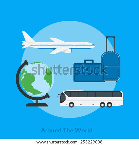 picture of a bus, plane, globe and travel bags, flat style illustration, traveling, vacation concept - stock vector