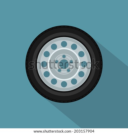 picture of a car wheel, flat style icon - stock vector