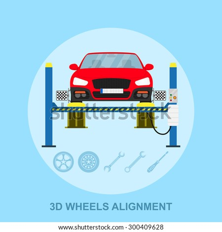 picture of a car with computerized alignment device at wheel, alignment service station, flat style illustration - stock vector