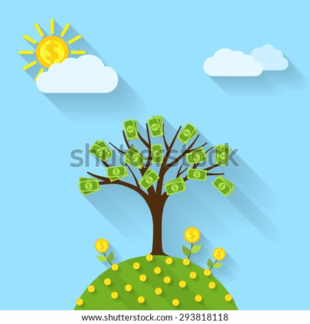picture of a cartoon landscape with money tree, sun, flowers and clouds, flat style illustration - stock vector