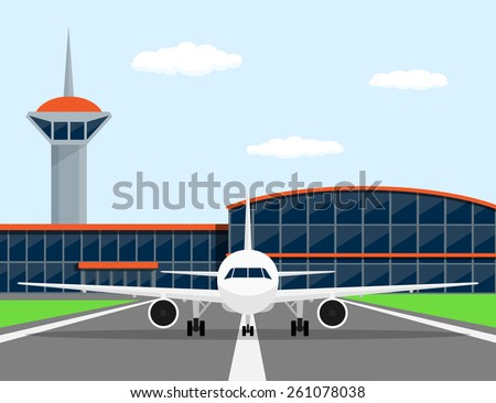 picture of a civilian plane on landing strip, in front of airport, flat style illustration - stock vector