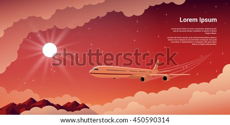 picture of a civilian plane with clouds. mountains, setting sun and stars on background, flat style illustration, concept banner for vacation and travel concept