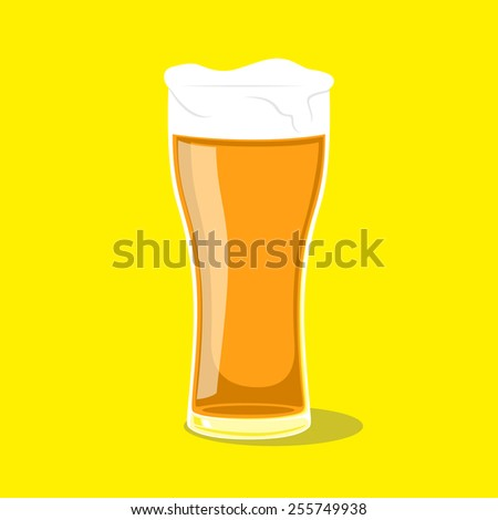 picture of a glass of beer on yellow background, flat style illustration - stock vector