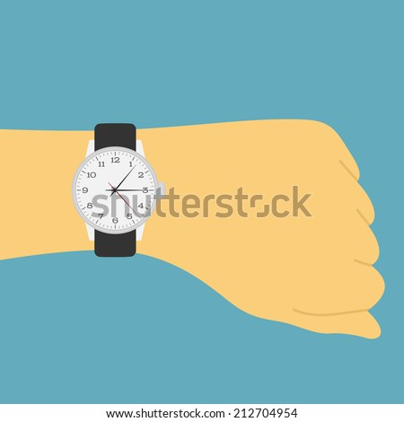 picture of a human hand with watch - stock vector