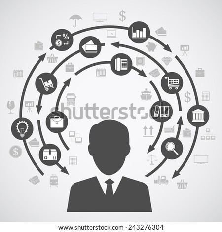 picture of a human silhouette and a diagram of business processes with a lot of icons - stock vector