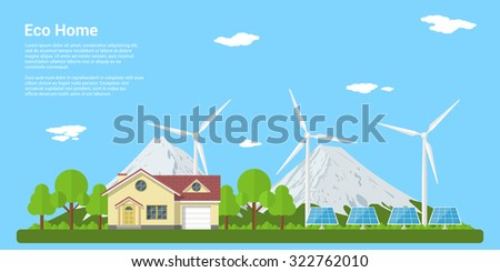 picture of a private house, solar panels and wind turbines with mountains on background, flat style concept of eco home, renewable energy, ecology - stock vector
