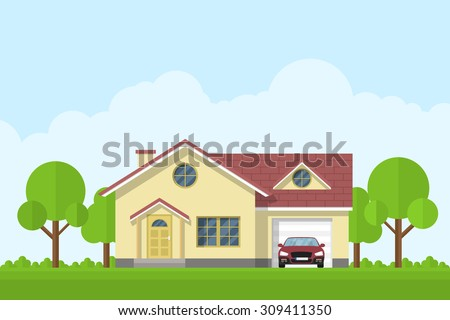 picture of a private living house with garage and car, flat style illustration - stock vector