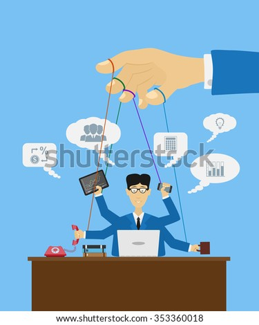 picture of a puppet worker with many hands and a hand that manipulate it, flat style illustration - stock vector
