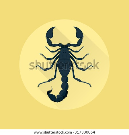 picture of a scorpion on yellow background, flat style illustration - stock vector