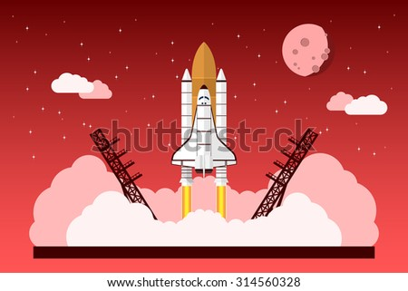 picture of a starting space shuttle in front of sky with stars, clouds and moon, vector concept for start up project, new business, product or service  - stock vector