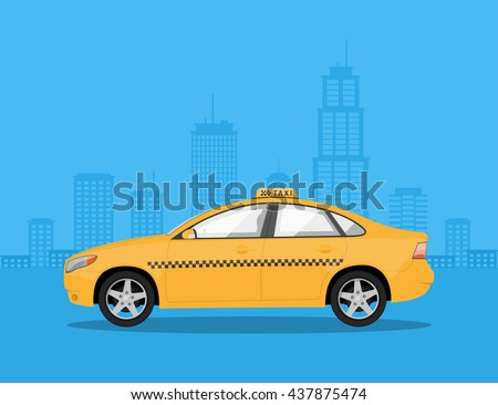 picture of a taxi car with big city silhouette on background, flat style illustration - stock vector