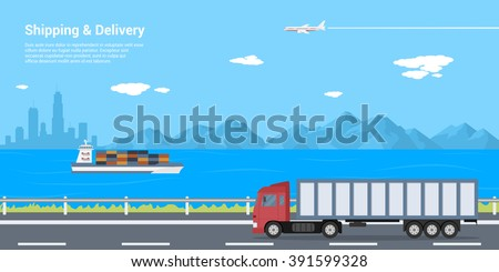 picture of a truck on the road, barge in the sea and plane in the sky with mountains and big city silhouette on background, shipping and delivery concept, flat style illustration