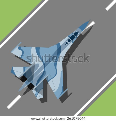 picture of a war plane standing on landing strip, flat style illustration - stock vector