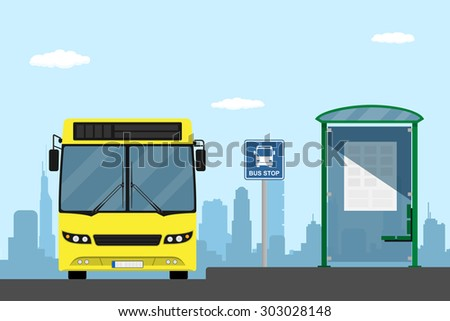 picture of a yellow city bus on a bus stop, flat style illustration - stock vector