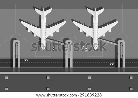 picture of airport terminal with two planes, top view, flat style illustration - stock vector
