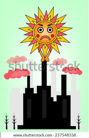 Picture of angry sun and dirty  factory - stock vector