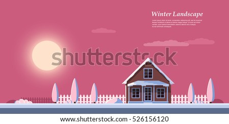 picture of beautiful colorful winter sunrise, private cottage house, flat style illustration