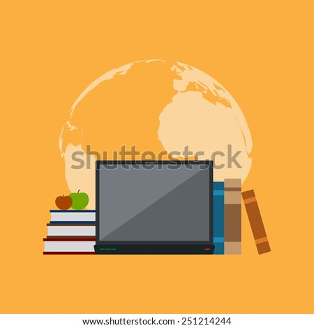 picture of books, notebook and apples in front of world map silhouette, flat style illustration, education, online education concept - stock vector