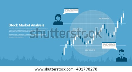 picture of candlestick graph with icons of people, flat style banner, stock market analysis, forex trading, business analytics, investmen? concept