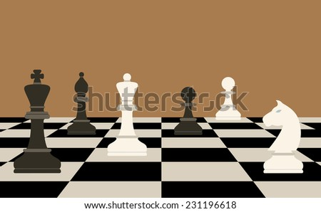 picture of chessboard and chess figures on it, business strategy concept - stock vector