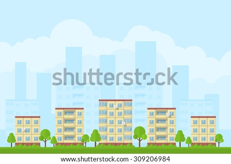 picture of city landscape with panel houses, flat style concept for product promotion and advertising - stock vector