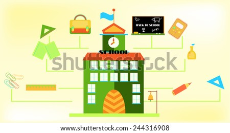 Picture of colorful school building with school supplies, yellow background - stock vector
