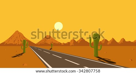 picture of desert road, cacti, mountains and setting sun, flat style illustration - stock vector