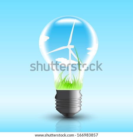 picture of electric bulb with windmill inside, vector eps 10 illustration