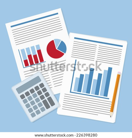 picture of financial report with graphs, calculator and pencil - stock vector