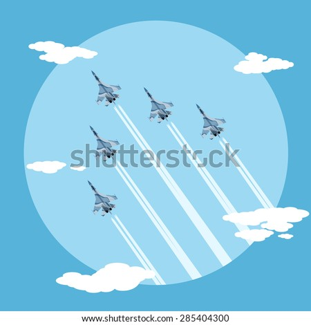 picture of five fighter planes flying combat order, flat style illustration - stock vector