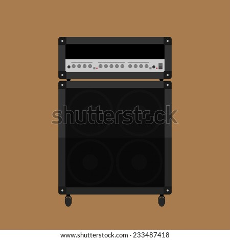 picture of guitar amplifier with cabinet speaker, flat style illustration - stock vector