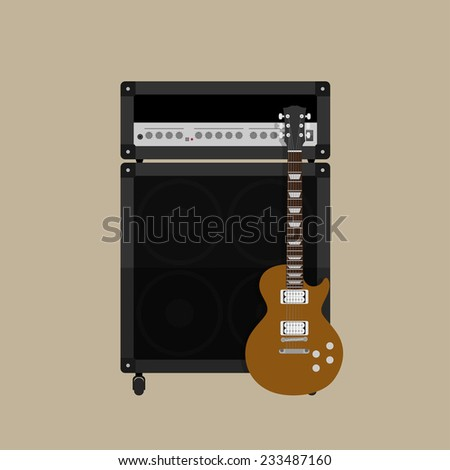 picture of guitar amplifier with speaker and guitar, flat style illustration - stock vector
