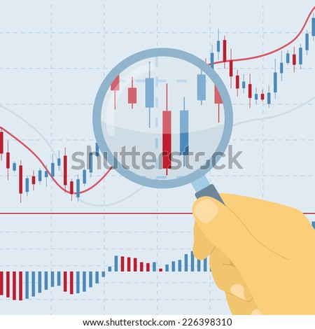 picture of human hand holding magnifying glass on forex chart - stock vector