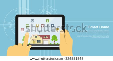 picture of human hand holding tablet with house monitoring icons, flat style concept of a smart home - stock vector