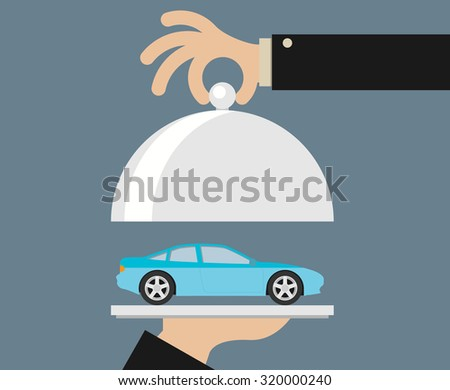 picture of human hand holding tray with car, flat style illustration - stock vector