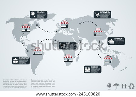 picture of infographic template with world map, shops and icons, e-commerce concept - stock vector