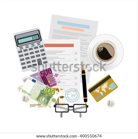 Picture of invoice sheet, pen, calculator, coins, banknotes and credit card, flat style illustration, invoice payment concept - stock vector