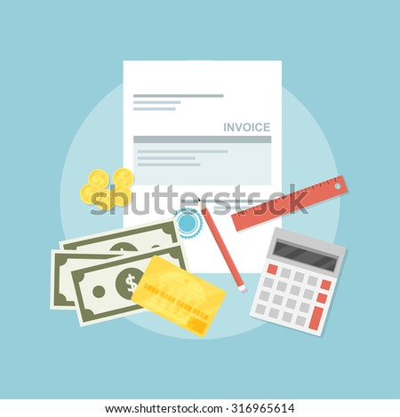 picture of invoice sheet, pen, calculator, ruler, coins, banknotes and credit card, flat style illustration, invoice payment concept - stock vector