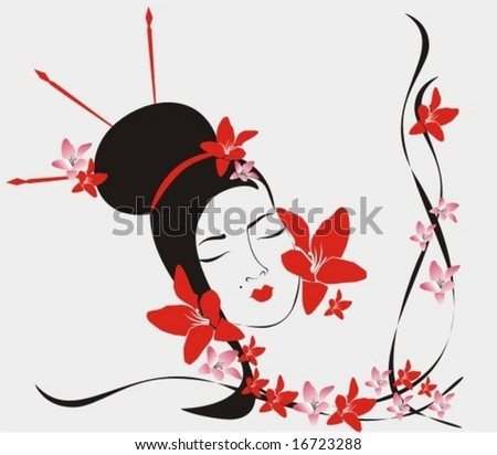 picture of Japanese girl - stock vector