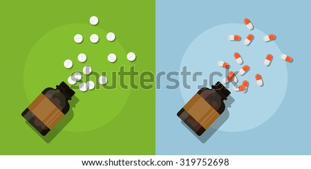 picture of medicine pills and bottles, flat style illustration - stock vector